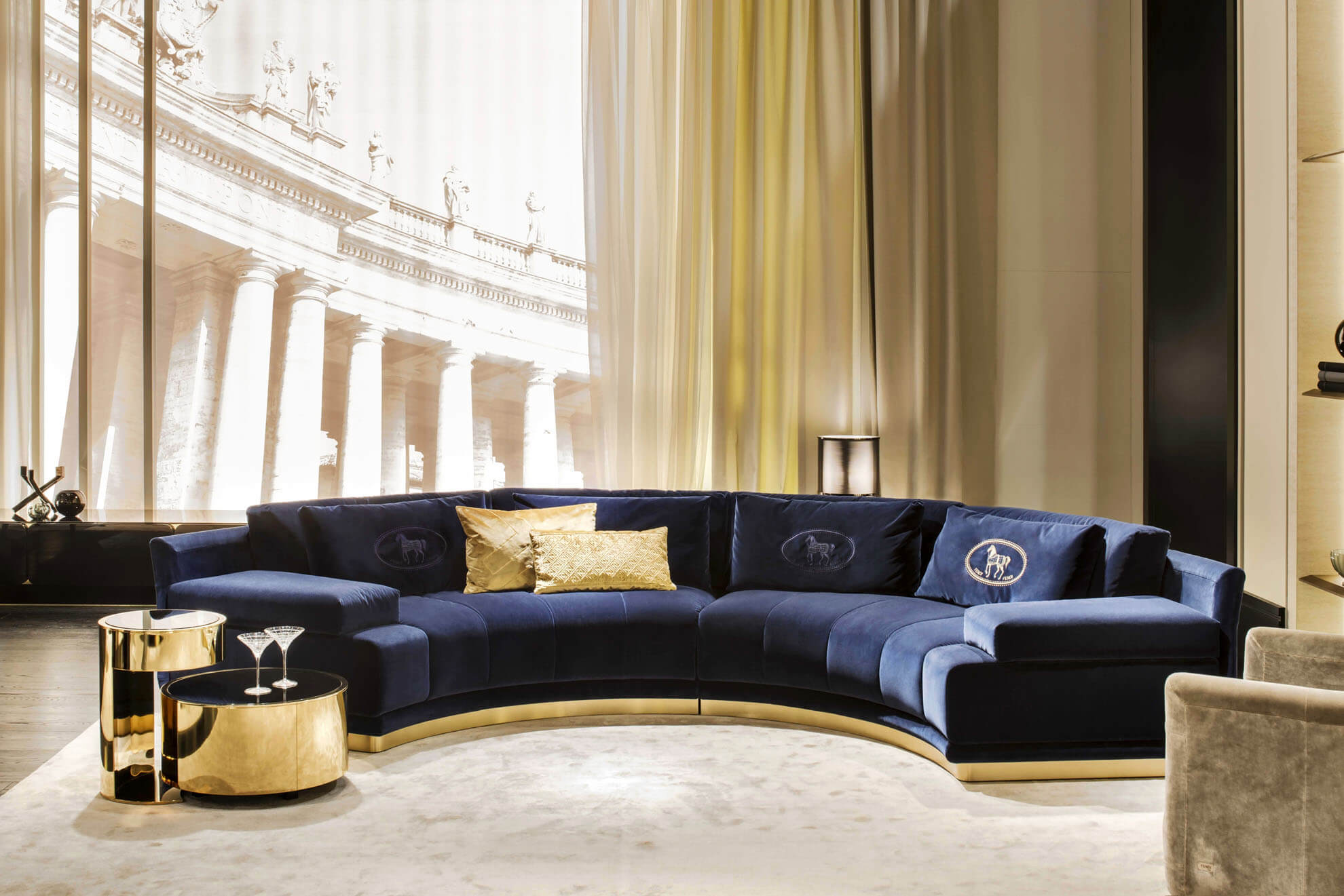 御邸進口家具 FENDI CASA Artu round sectional sofa
